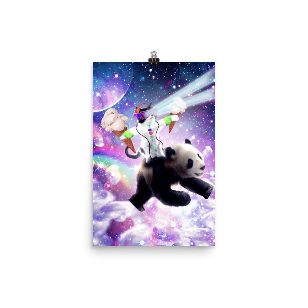 RandomGalaxy 12×18 Lazer Rave Space Cat Riding Panda With Ice Cream Poster