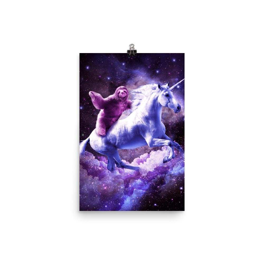 RandomGalaxy 12×18 Space Sloth Riding On Unicorn Poster