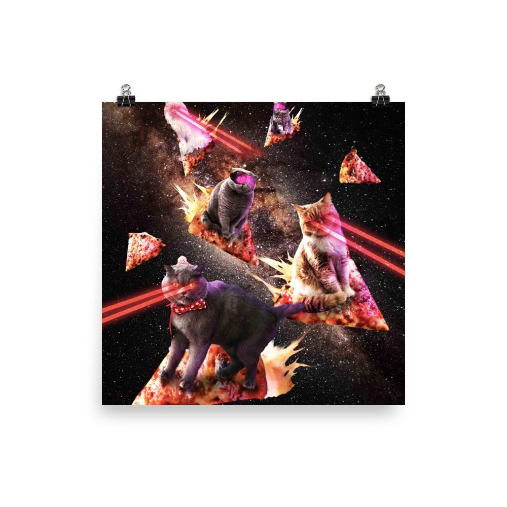 RandomGalaxy 14×14 Galaxy Laser Cat - Space Pizza Cats with Lazer Eyes Poster