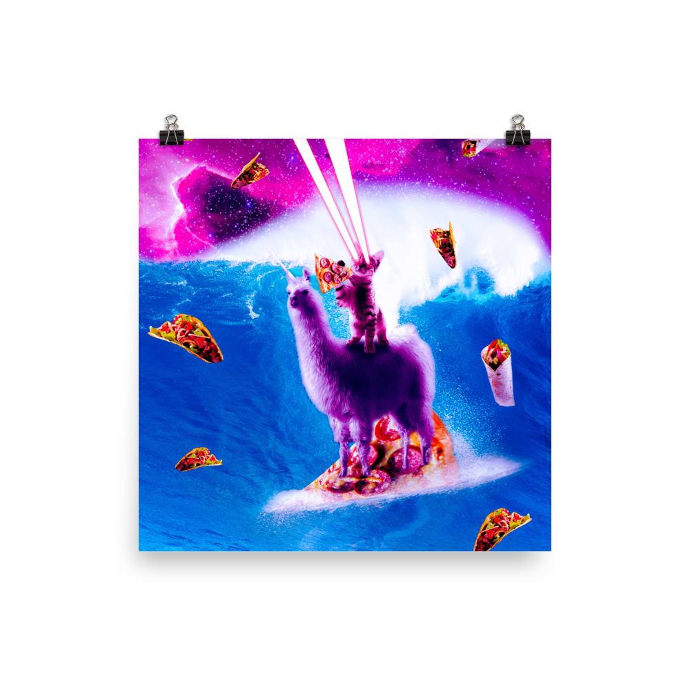 RandomGalaxy 14×14 Laser Eyes Space Cat Riding On Surfing Llama Unicorn Poster