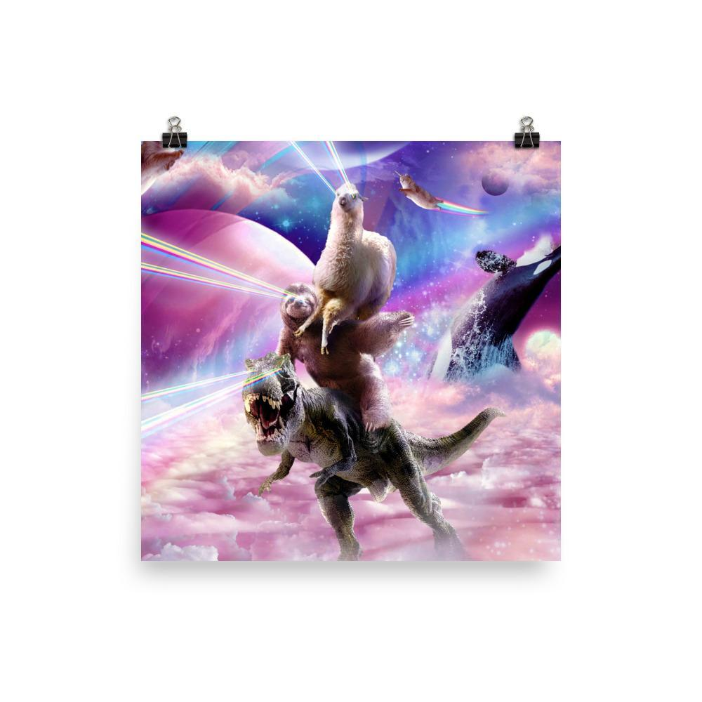RandomGalaxy 14×14 Laser Eyes Space Llama On Sloth Dinosaur - Rainbow Poster