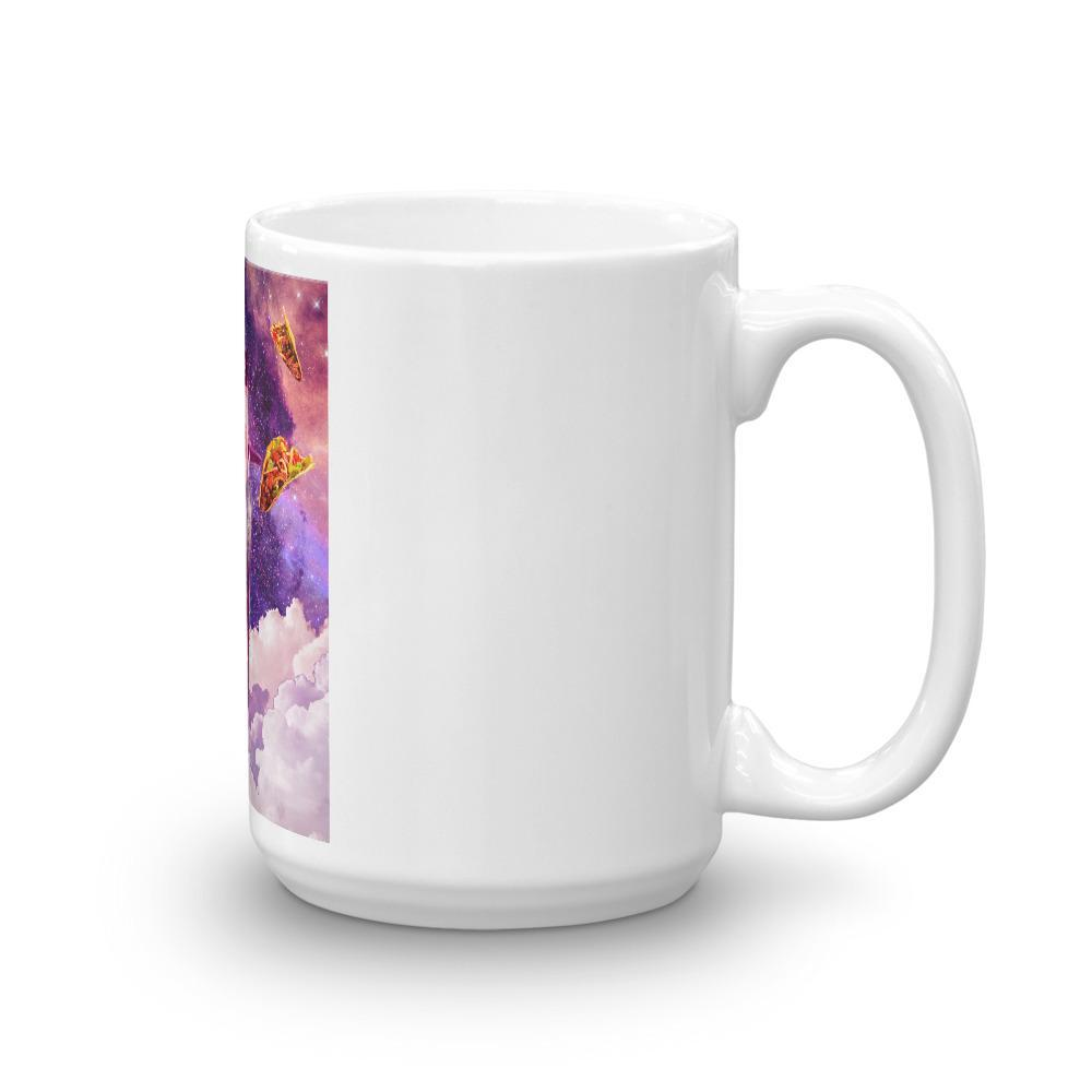 RandomGalaxy 15oz Cosmic Cat Riding Alpaca Unicorn Mug