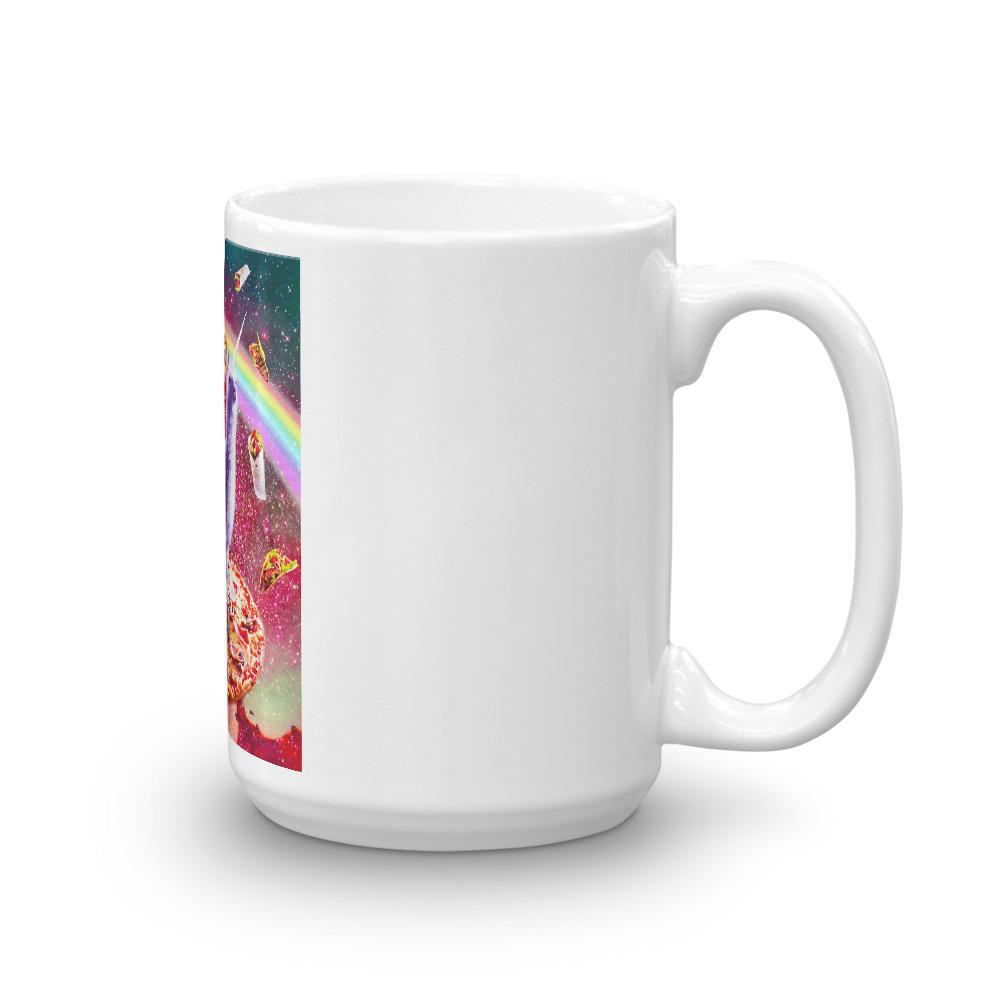 RandomGalaxy 15oz Laser Eyes Outer Space Cat Riding On Llama Unicorn Mug