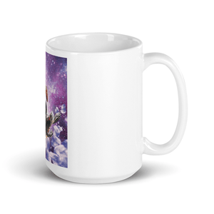 RandomGalaxy 15oz Lazer Warrior Space Cat Riding Turtle Eating Taco Mug