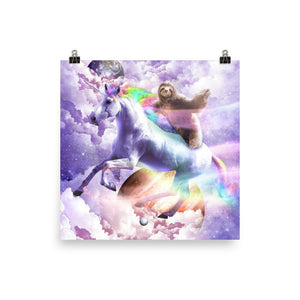 RandomGalaxy 16×16 Epic Space Sloth Riding On Unicorn Poster