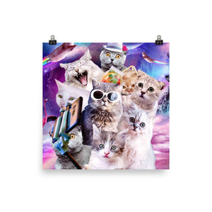 RandomGalaxy 16×16 Kitten Cat Selfie In Space With Unicorn Cat Poster