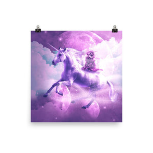 RandomGalaxy 16×16 Kitty Cat Riding On Flying Space Galaxy Unicorn Poster