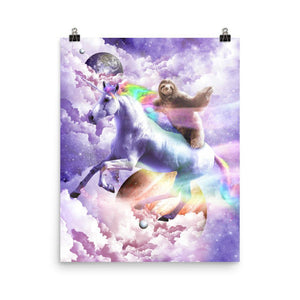 RandomGalaxy 16×20 Epic Space Sloth Riding On Unicorn Poster