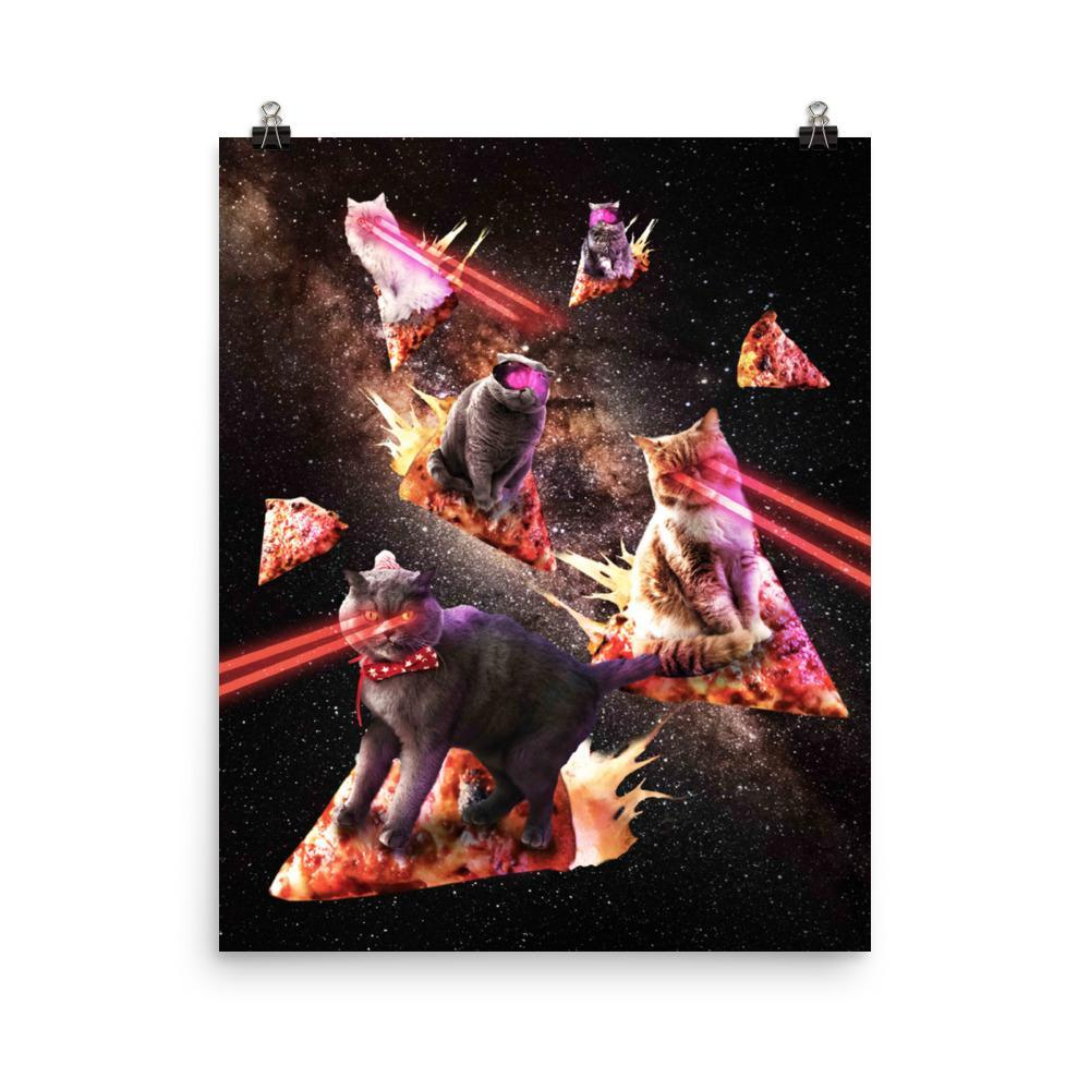 RandomGalaxy 16×20 Galaxy Laser Cat - Space Pizza Cats with Lazer Eyes Poster