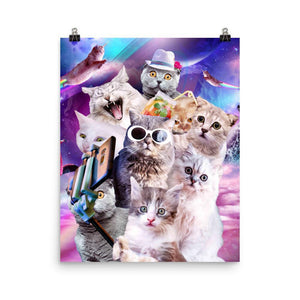 RandomGalaxy 16×20 Kitten Cat Selfie In Space With Unicorn Cat Poster