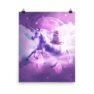 RandomGalaxy 16×20 Kitty Cat Riding On Flying Space Galaxy Unicorn Poster