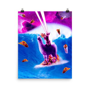 RandomGalaxy 16×20 Laser Eyes Space Cat Riding On Surfing Llama Unicorn Poster