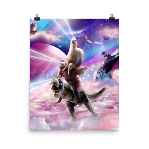 RandomGalaxy 16×20 Laser Eyes Space Llama On Sloth Dinosaur - Rainbow Poster