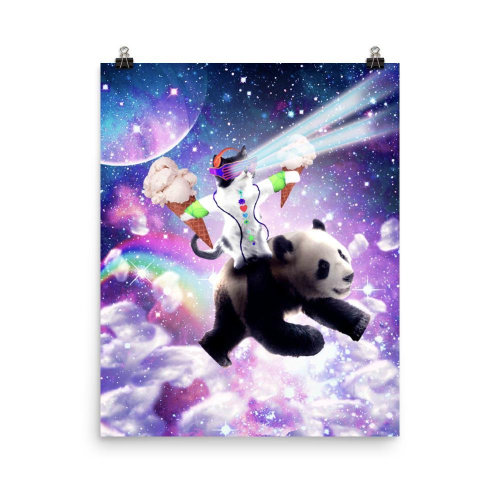 RandomGalaxy 16×20 Lazer Rave Space Cat Riding Panda With Ice Cream Poster