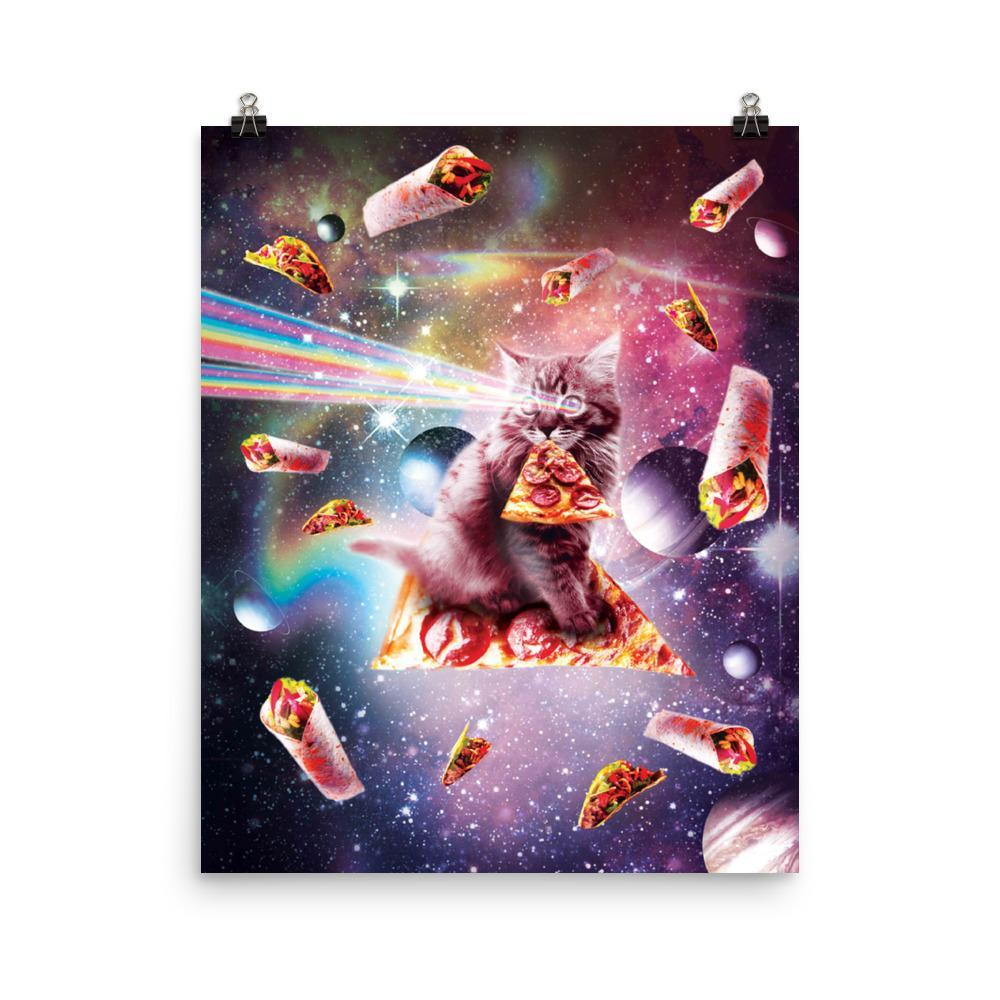 RandomGalaxy 16×20 Outer Space Pizza Cat - Rainbow Laser, Taco, Burrito Poster