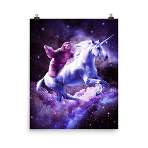 RandomGalaxy 16×20 Space Sloth Riding On Unicorn Poster