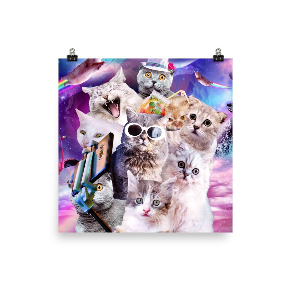 RandomGalaxy 18×18 Kitten Cat Selfie In Space With Unicorn Cat Poster