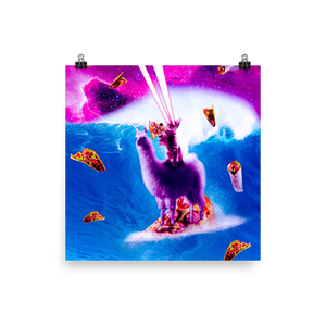 RandomGalaxy 18×18 Laser Eyes Space Cat Riding On Surfing Llama Unicorn Poster
