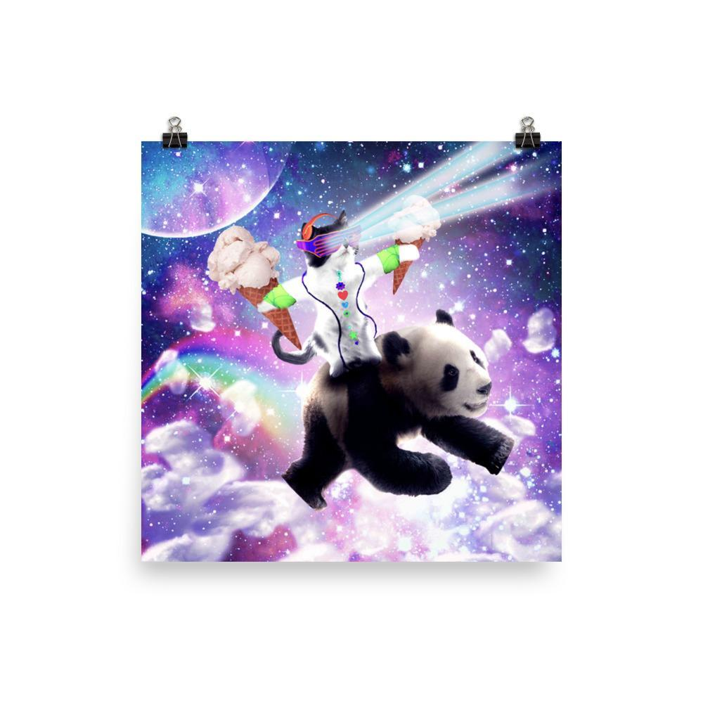 RandomGalaxy 18×18 Lazer Rave Space Cat Riding Panda With Ice Cream Poster