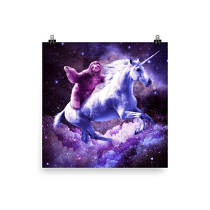 RandomGalaxy 18×18 Space Sloth Riding On Unicorn Poster