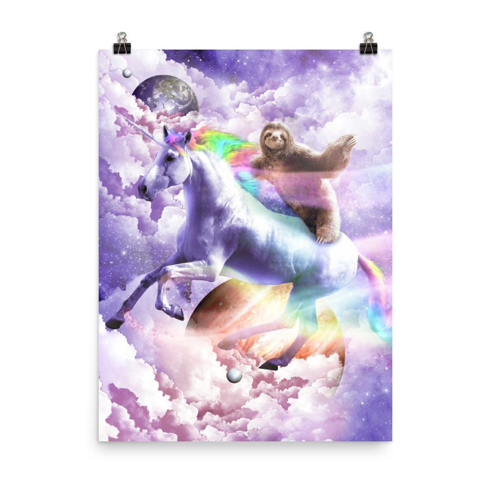 RandomGalaxy 18×24 Epic Space Sloth Riding On Unicorn Poster