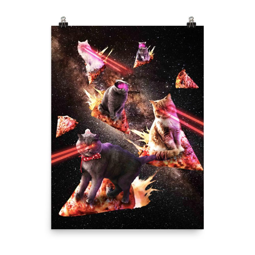 RandomGalaxy 18×24 Galaxy Laser Cat - Space Pizza Cats with Lazer Eyes Poster