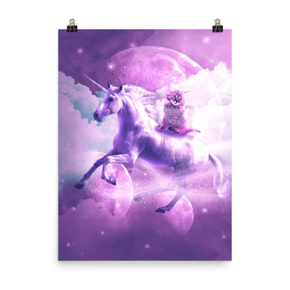 RandomGalaxy 18×24 Kitty Cat Riding On Flying Space Galaxy Unicorn Poster