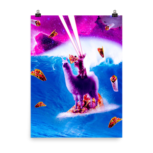 RandomGalaxy 18×24 Laser Eyes Space Cat Riding On Surfing Llama Unicorn Poster