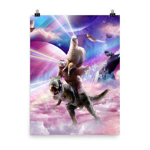 RandomGalaxy 18×24 Laser Eyes Space Llama On Sloth Dinosaur - Rainbow Poster