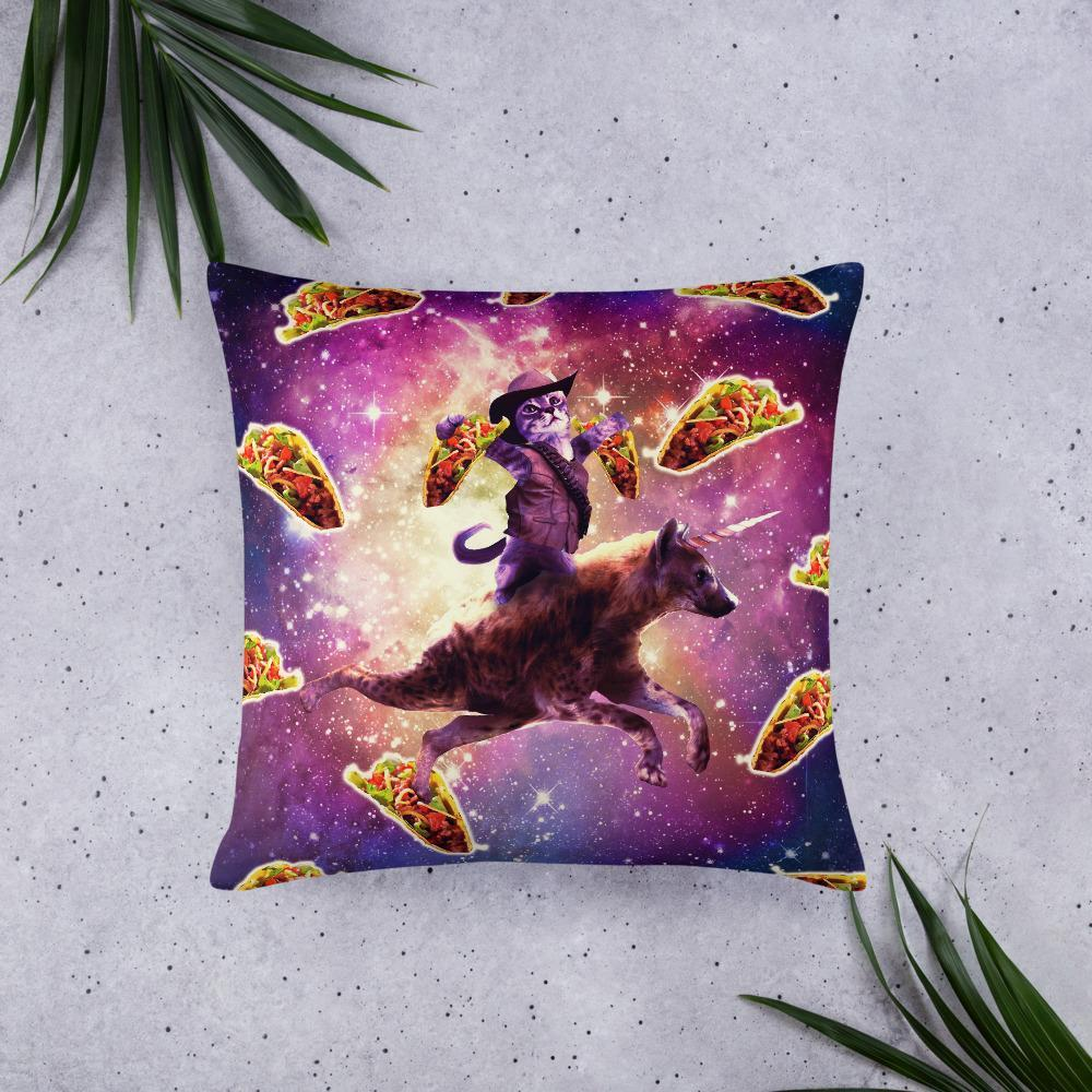 RandomGalaxy 22×22 Cowboy Space Cat On Hyena Unicorn - Taco Basic Pillow