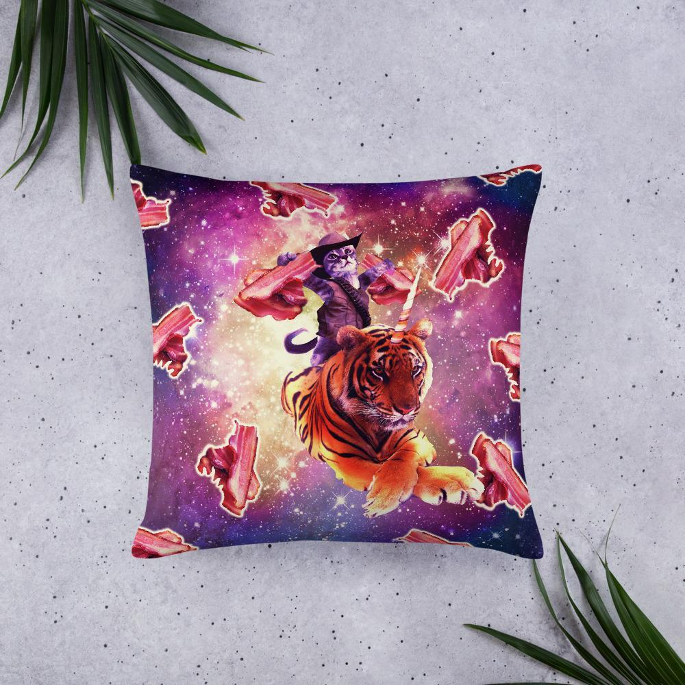 RandomGalaxy 22×22 Cowboy Space Cat On Tiger Unicorn - Bacon Basic Pillow