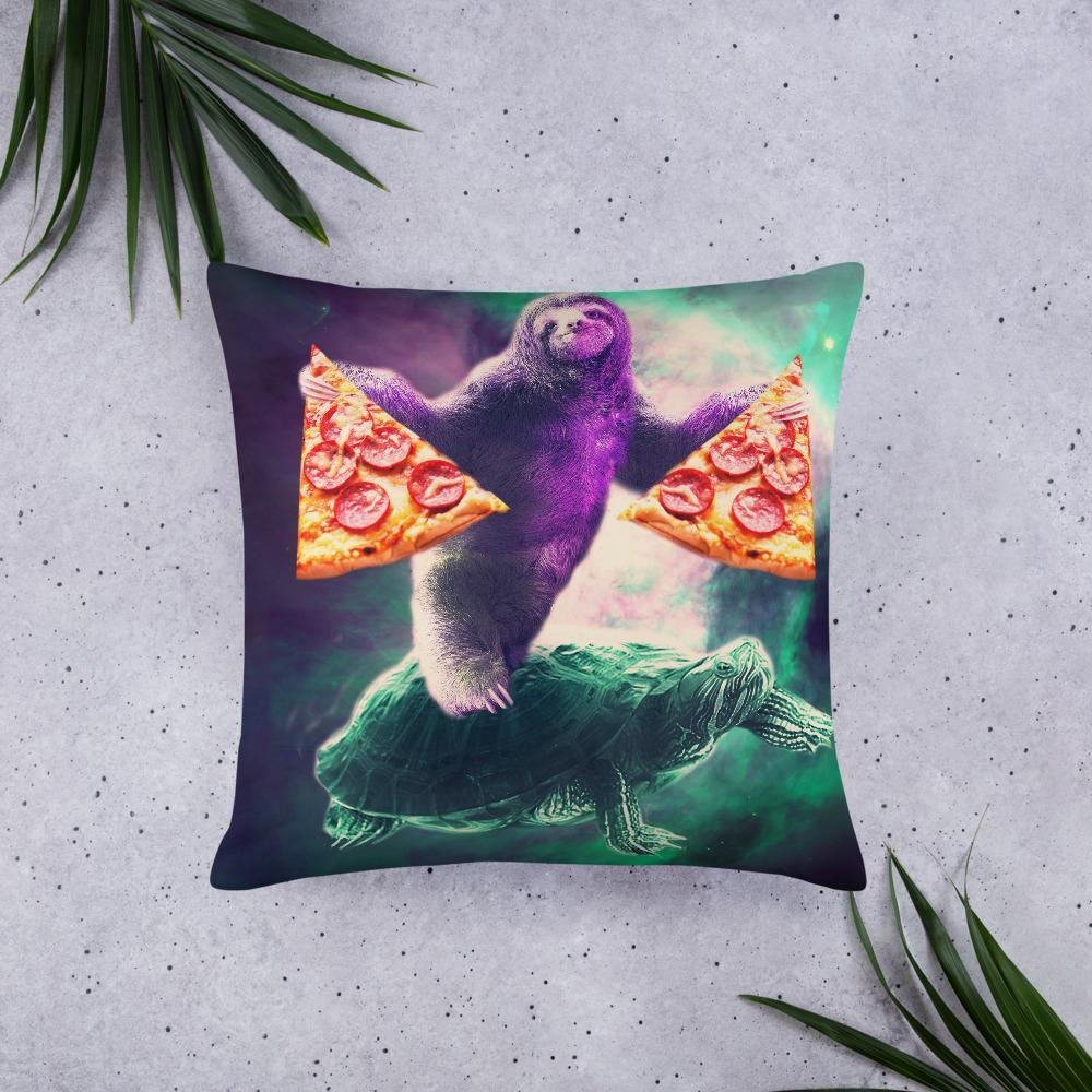 RandomGalaxy 22×22 Funny Space Sloth With Pizza Riding On Turtle Basic Pillow