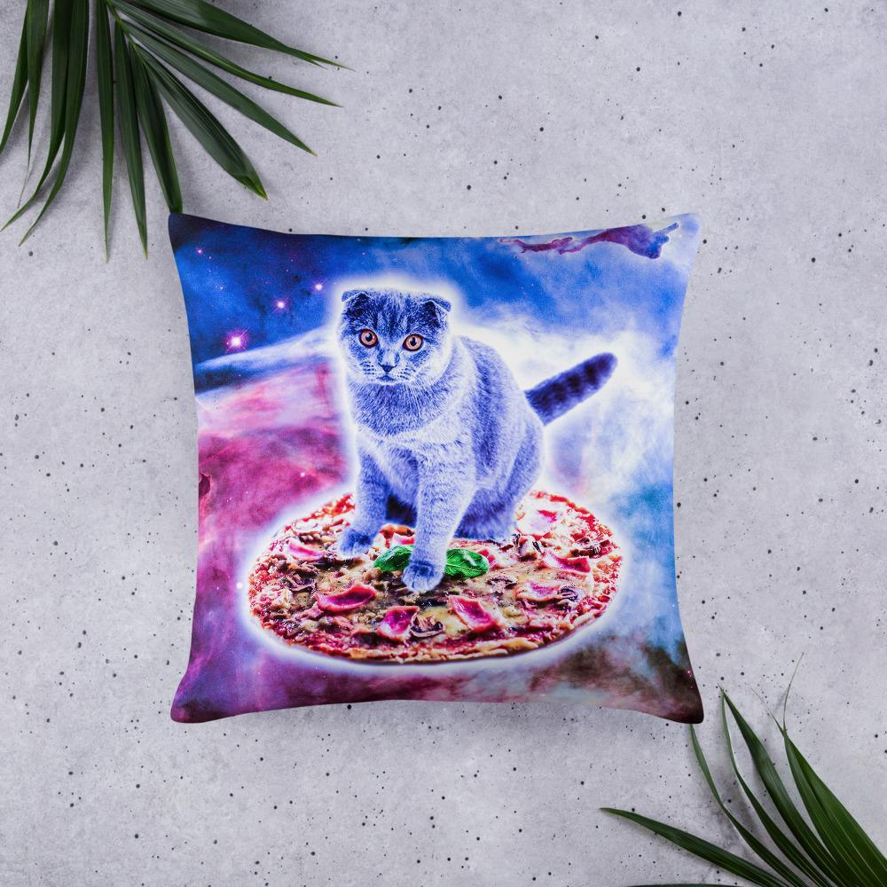 RandomGalaxy 22×22 Galaxy Kitty Cat Riding Pizza In Space Basic Pillow