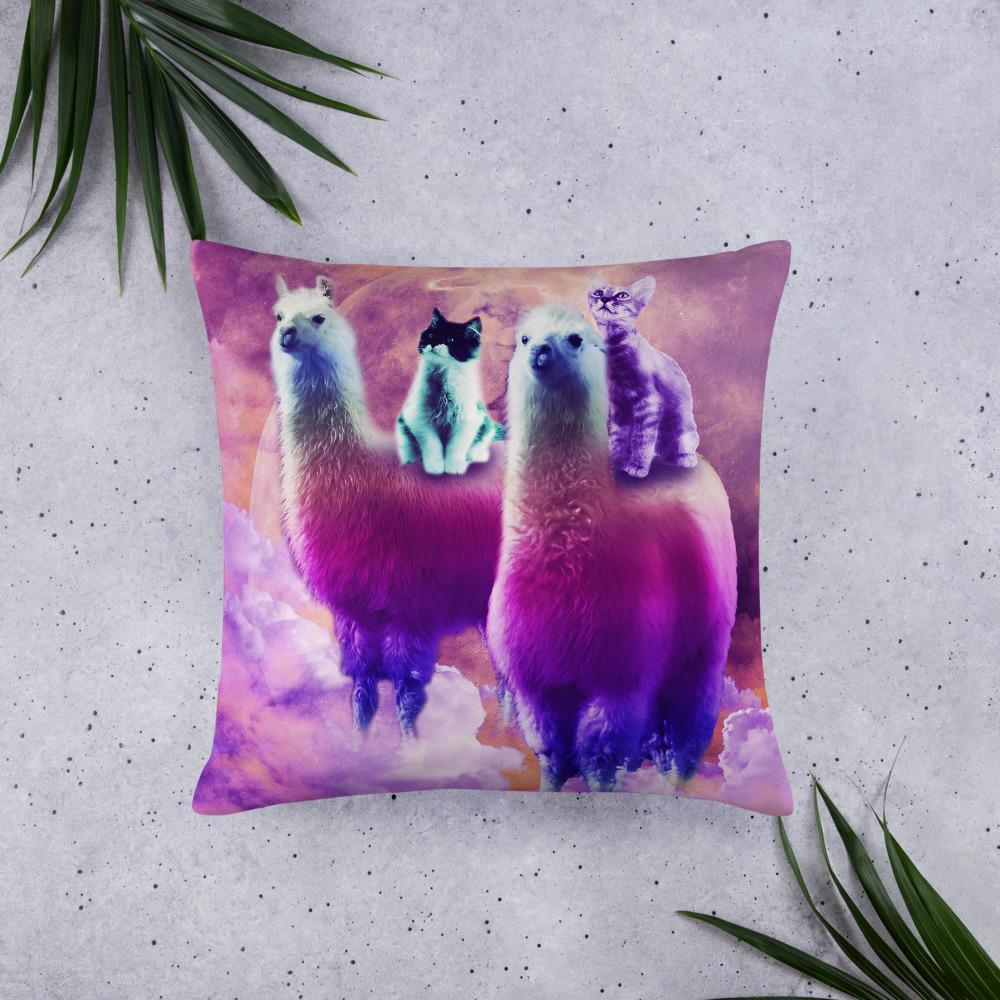 RandomGalaxy 22×22 Kitty Cat Riding On Rainbow Llama In Space Basic Pillow