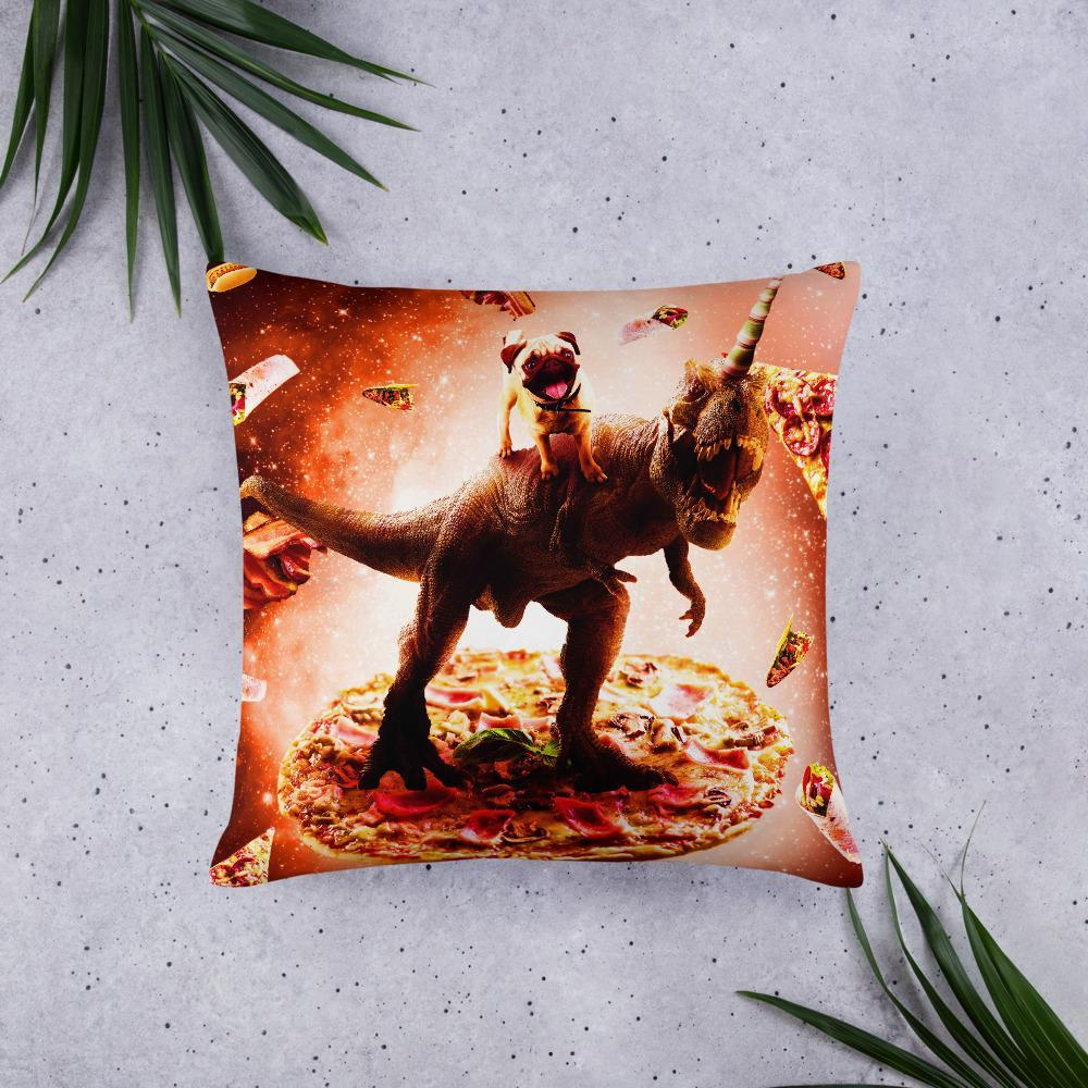 RandomGalaxy 22×22 Outer Space Pug Riding Dinosaur Unicorn - Pizza Basic Pillow
