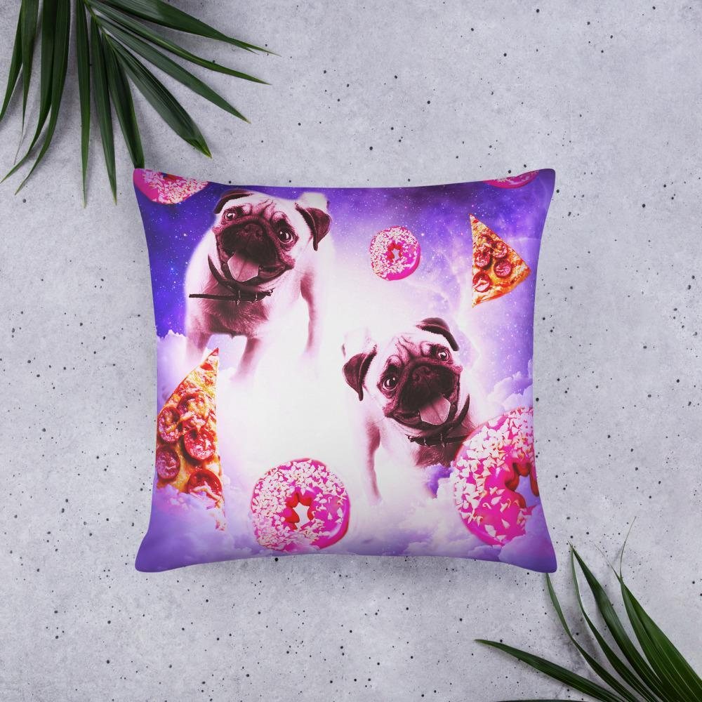 RandomGalaxy 22×22 Pugs In The Clouds With Doughnut And Pizza Basic Pillow