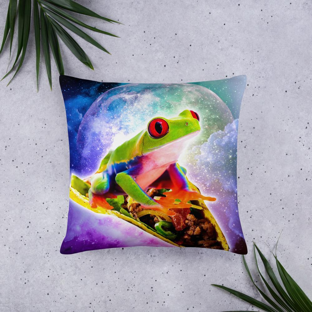 RandomGalaxy 22×22 Red Tree Frog Riding Taco In Space Basic Pillow