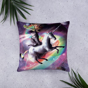 RandomGalaxy 22×22 Space Cat Riding Unicorn - Laser, Tacos And Rainbow Basic Pillow