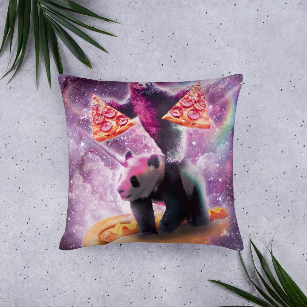 RandomGalaxy 22×22 Space Pizza Sloth On Panda Unicorn On Hotdog Basic Pillow