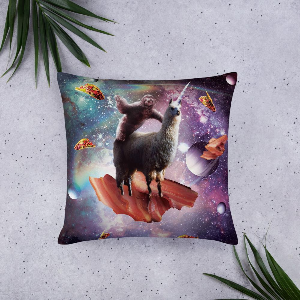 RandomGalaxy 22×22 Space Sloth Riding Llama Unicorn - Bacon & Taco Basic Pillow