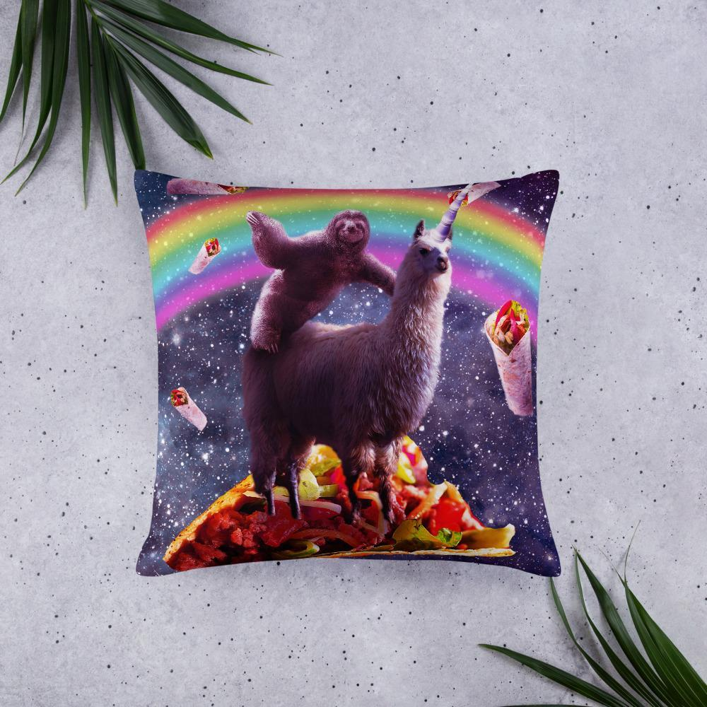 RandomGalaxy 22×22 Space Sloth Riding Llama Unicorn - Taco & Burrito Basic Pillow