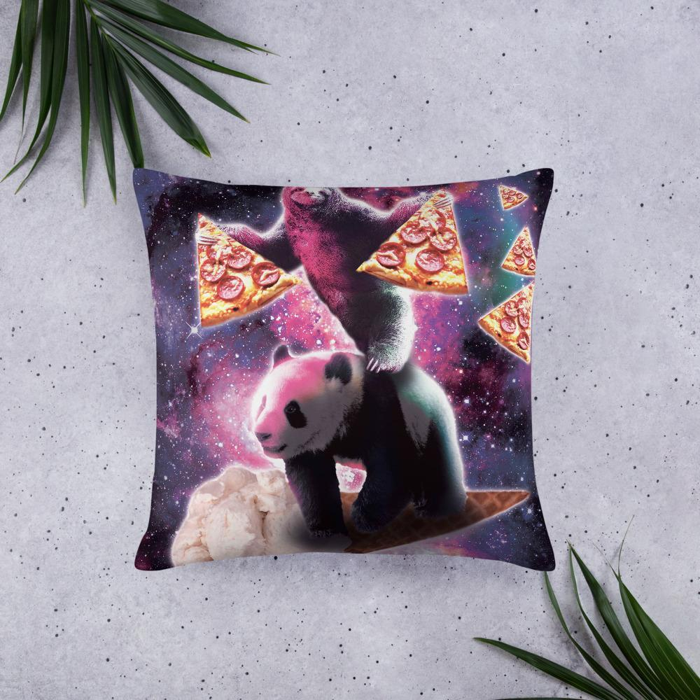 RandomGalaxy 22×22 Space Sloth With Pizza On Panda Riding Ice Cream Basic Pillow