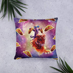 RandomGalaxy 22×22 Thug Space Cat On Tiger Unicorn - Taco Basic Pillow