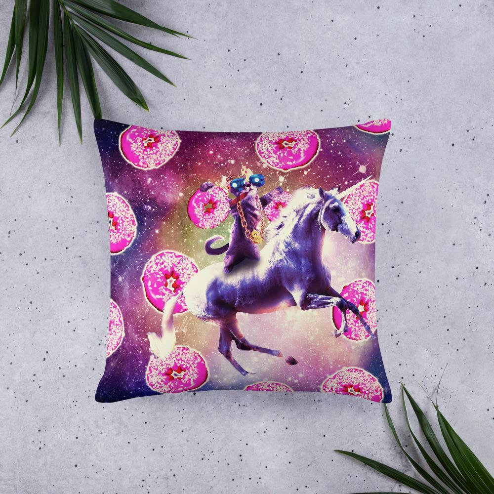 RandomGalaxy 22×22 Thug Space Cat On Unicorn - Donut Basic Pillow