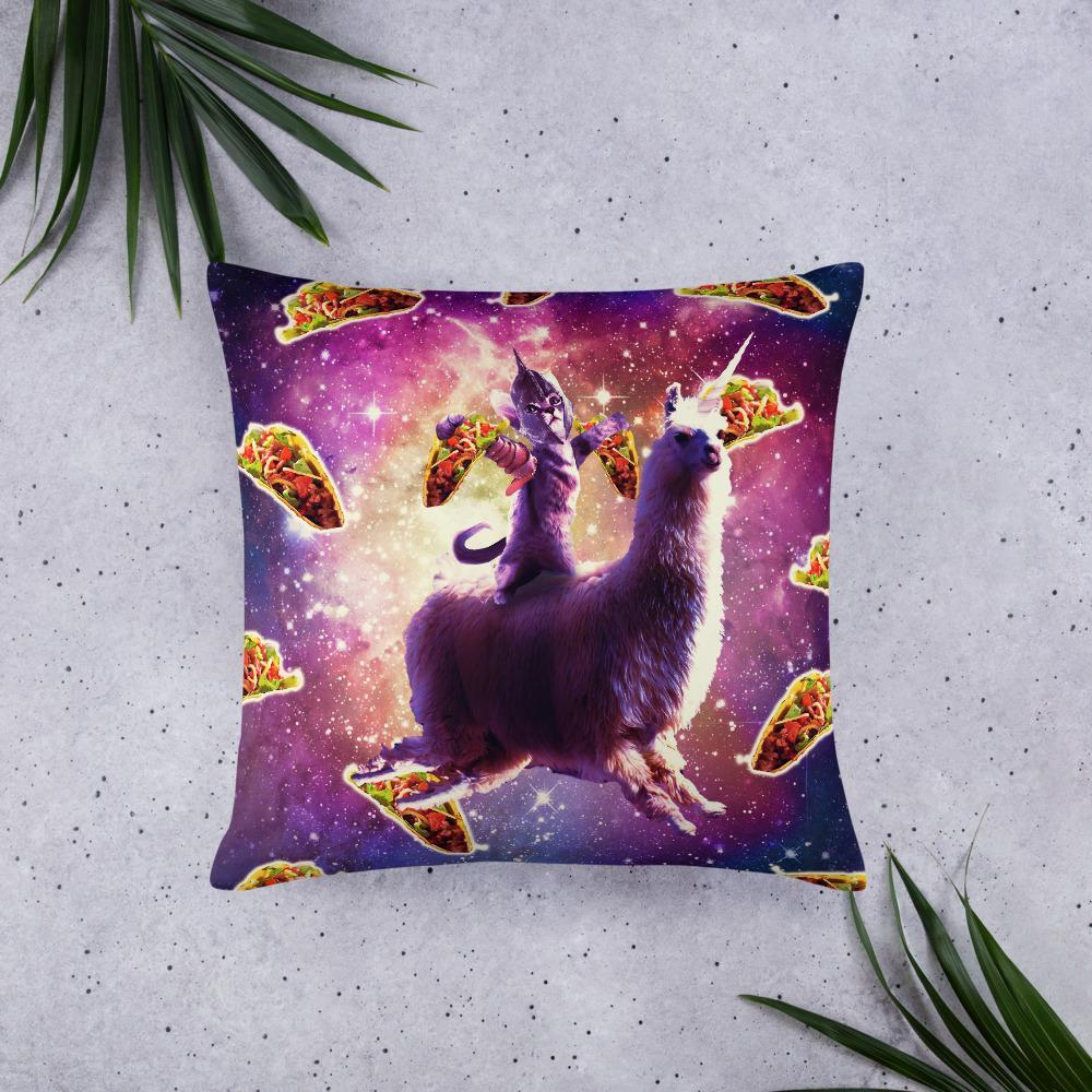 RandomGalaxy 22×22 Warrior Space Cat On Llama Unicorn - Taco Basic Pillow