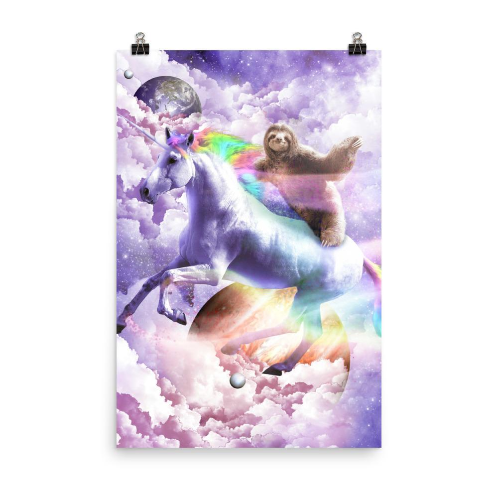 RandomGalaxy 24×36 Epic Space Sloth Riding On Unicorn Poster