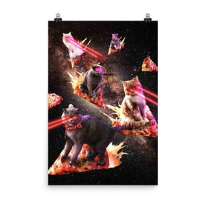 RandomGalaxy 24×36 Galaxy Laser Cat - Space Pizza Cats with Lazer Eyes Poster