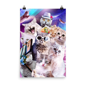 RandomGalaxy 24×36 Kitten Cat Selfie In Space With Unicorn Cat Poster