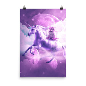RandomGalaxy 24×36 Kitty Cat Riding On Flying Space Galaxy Unicorn Poster