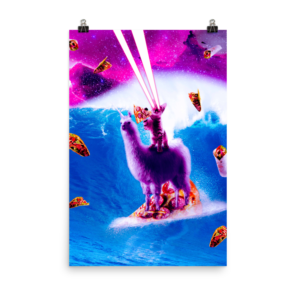 RandomGalaxy 24×36 Laser Eyes Space Cat Riding On Surfing Llama Unicorn Poster